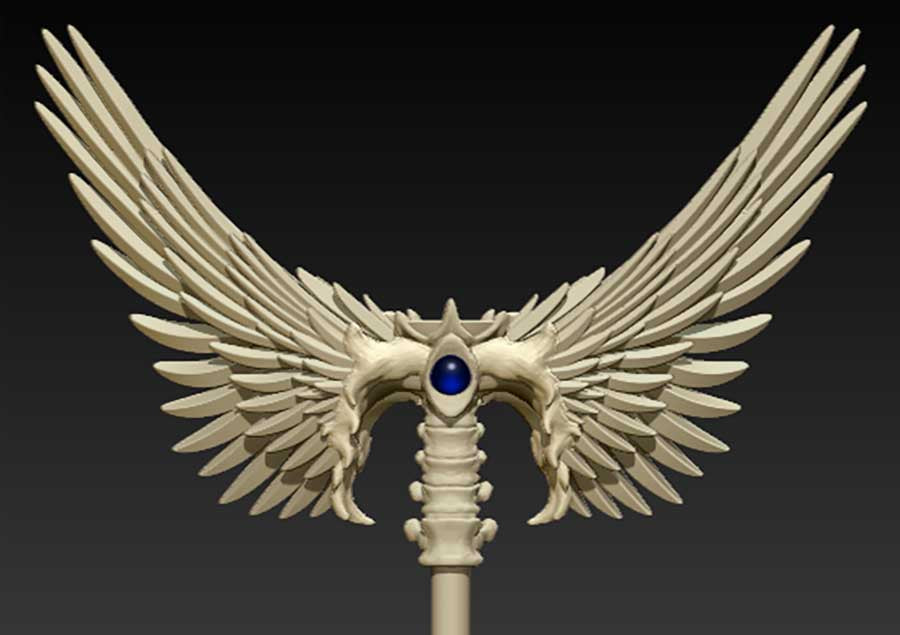 Custom Bone Winged Wizard Crystal Magic Staff