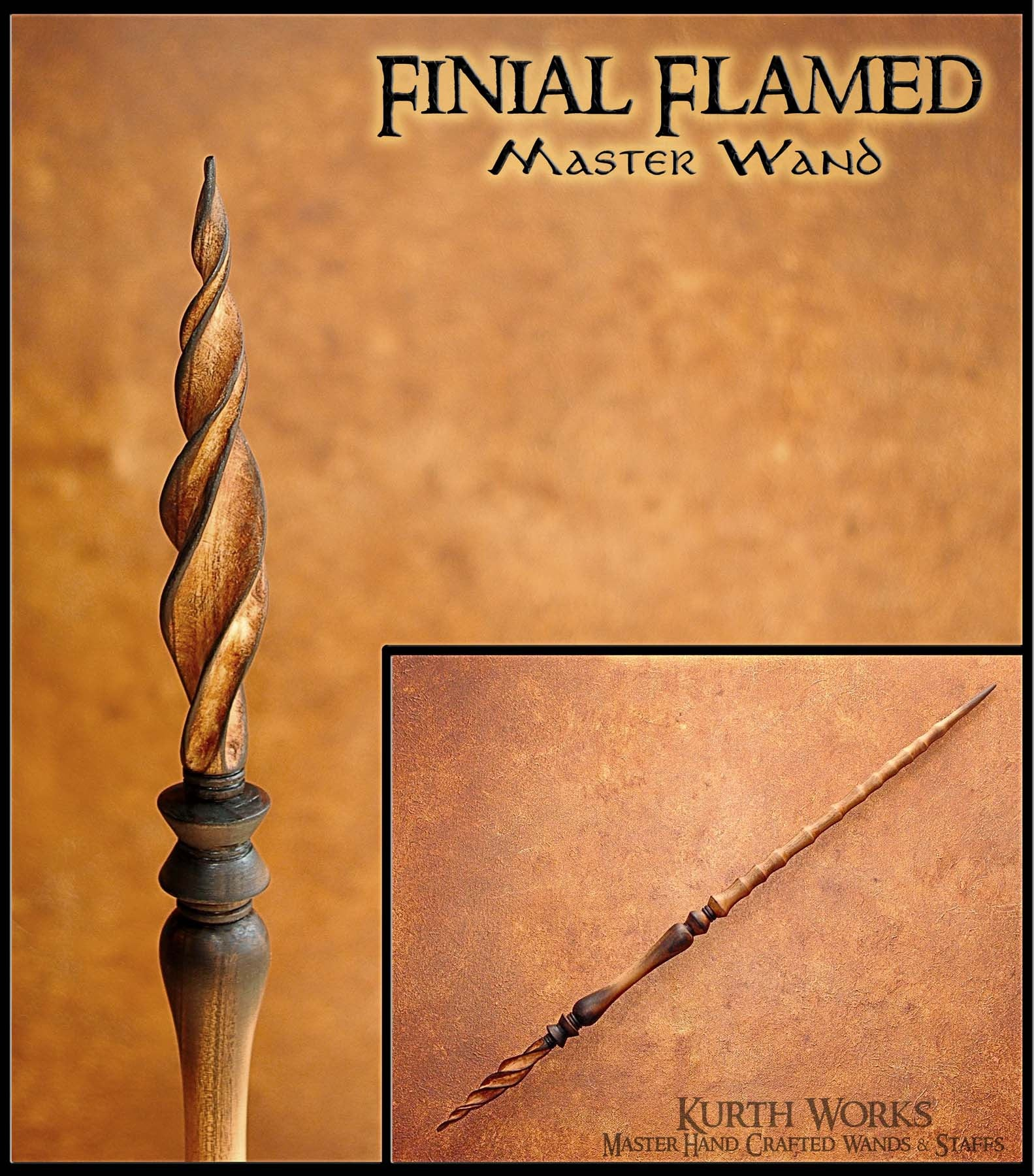Finial Flamed Wizard Magic Wand