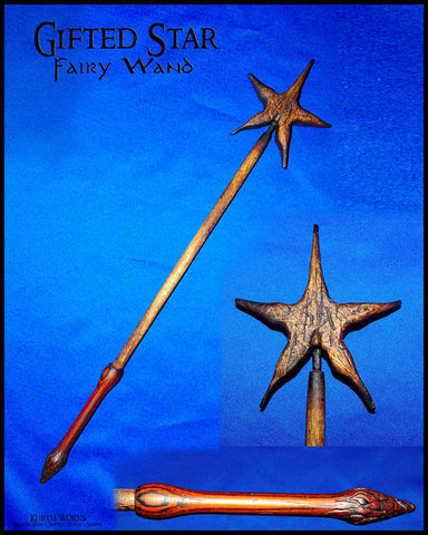 Gifted Star Wizard Magic Wooden Fairy Wand