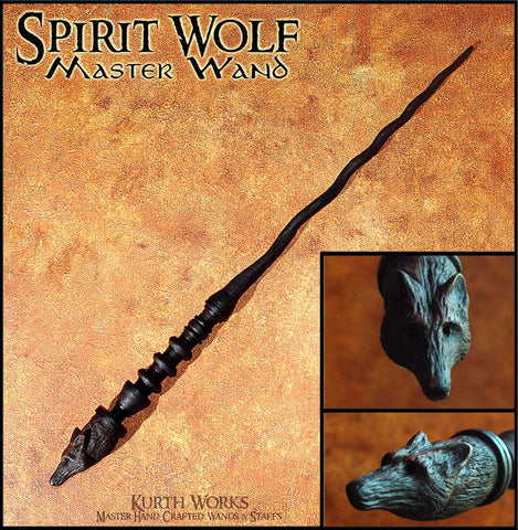 Spirit Wolf Spiraled Wizard Magic Wand