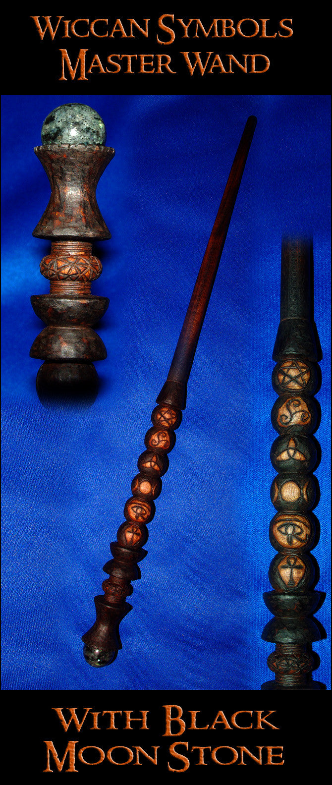 Wiccan Symbols Moon Stone Wizard Magic Wand