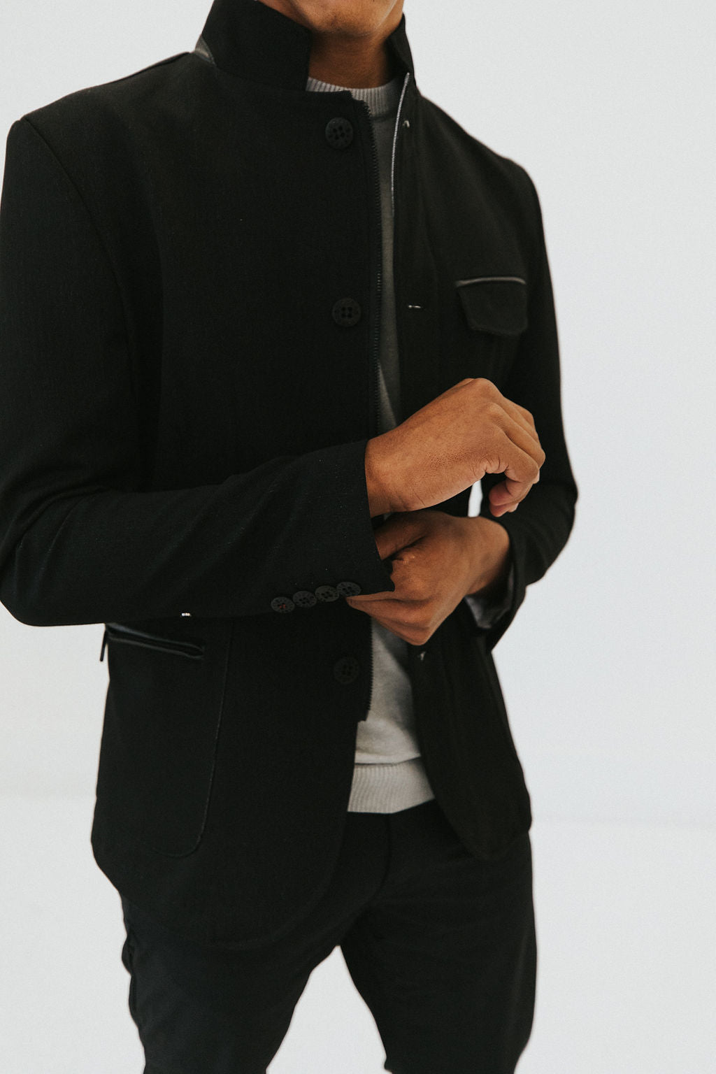 Bastien Stand Collar Jacket - Black