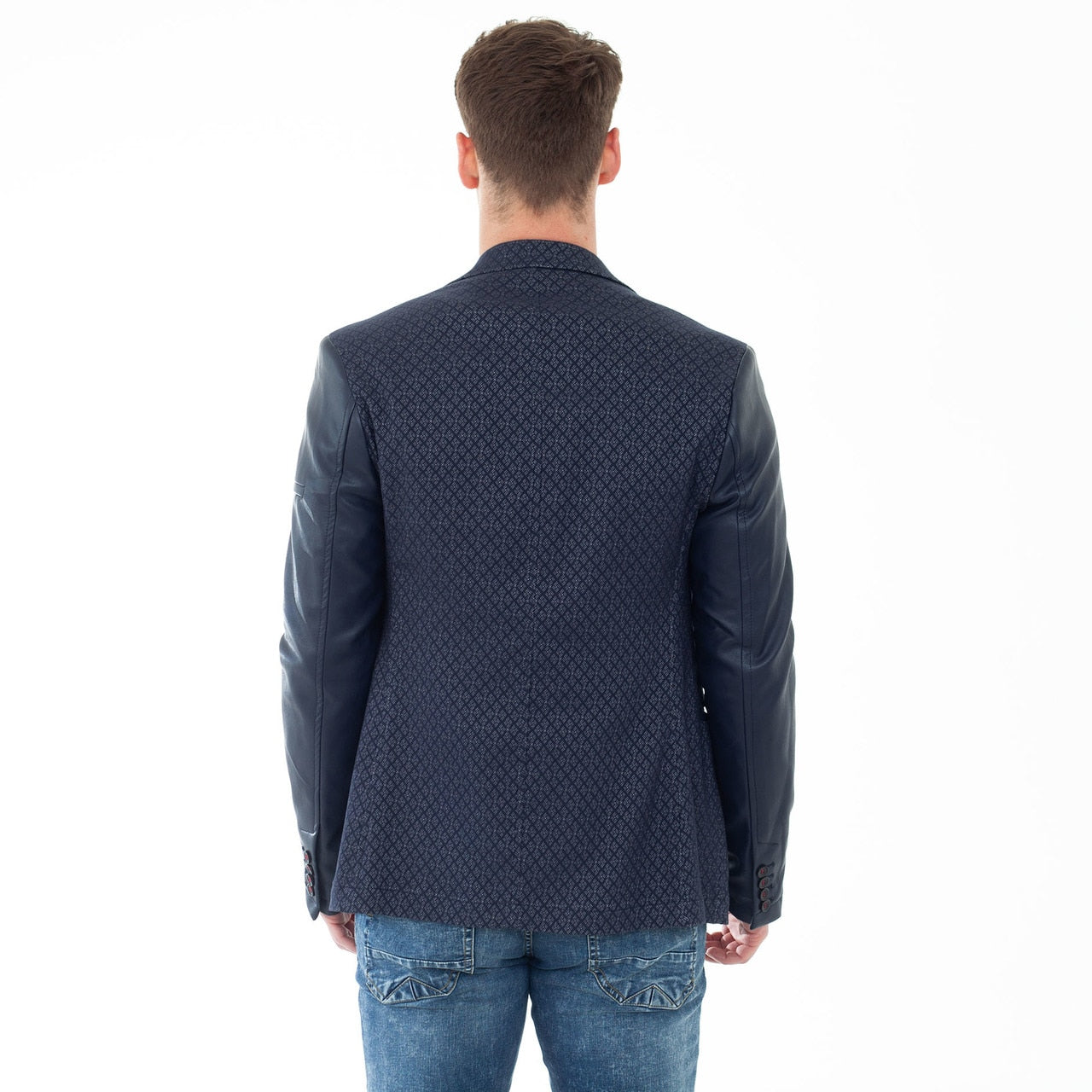 Navy Kennedy Jacket with Contrasting Sleeves