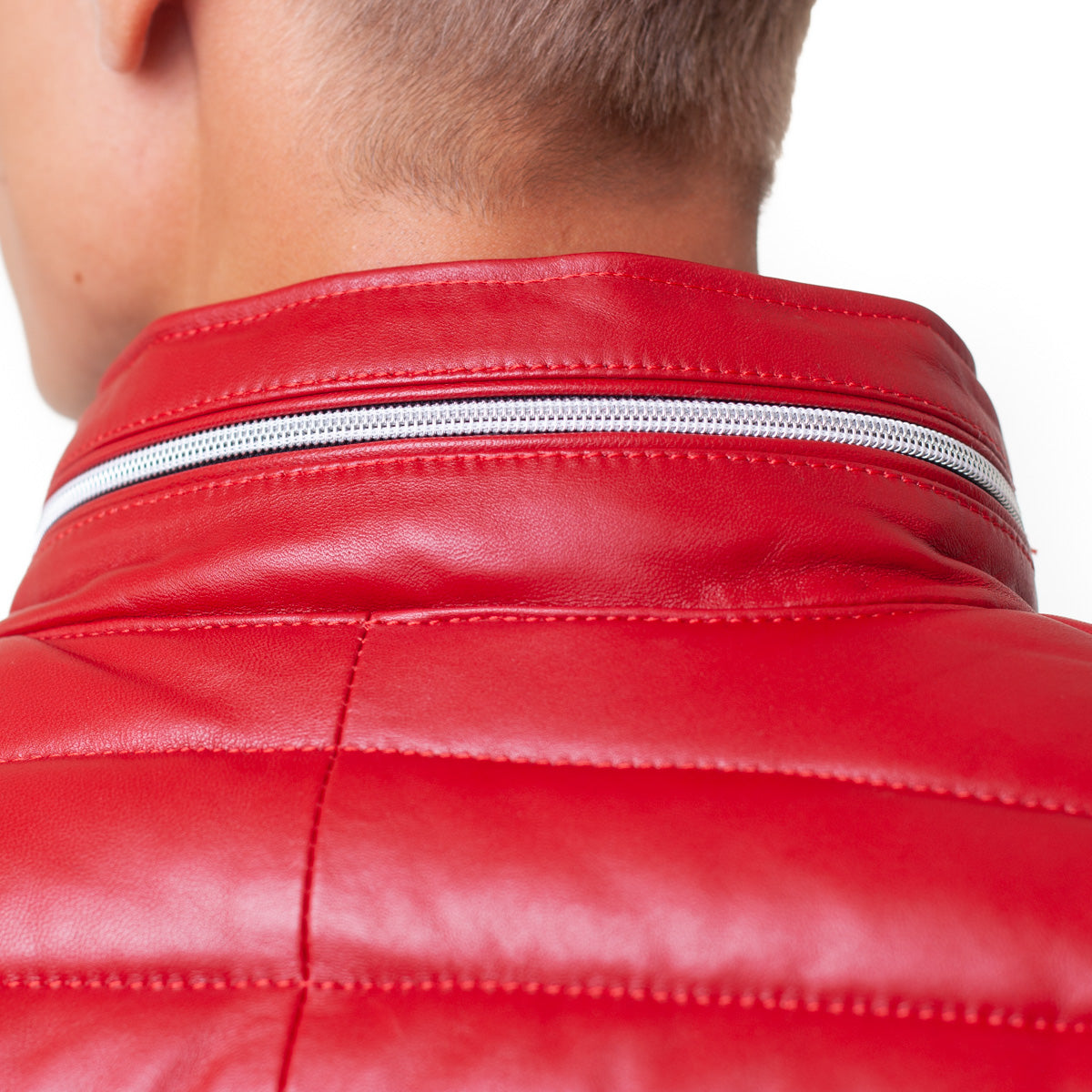 Leather Puffer Jacket - Red