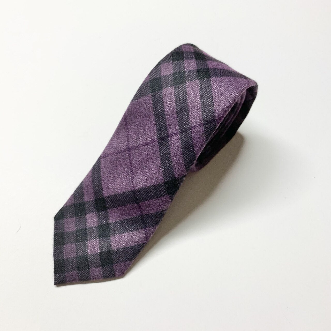 Faron Plaid Slim Tie - Purple