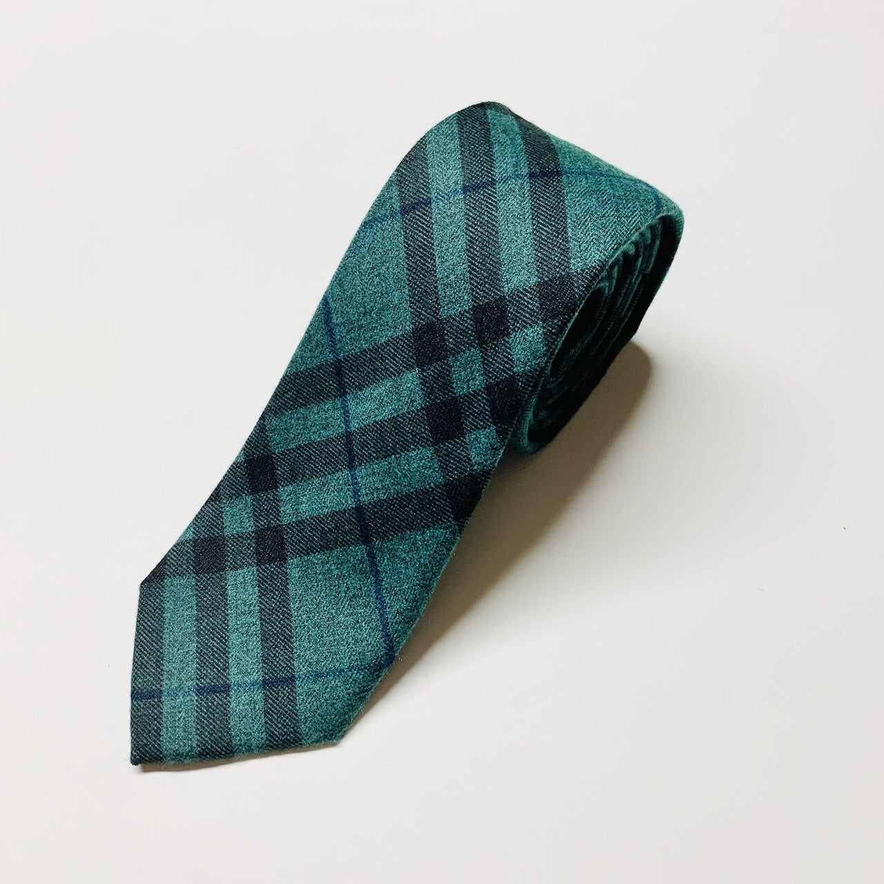 Faron Plaid Slim Tie - Green