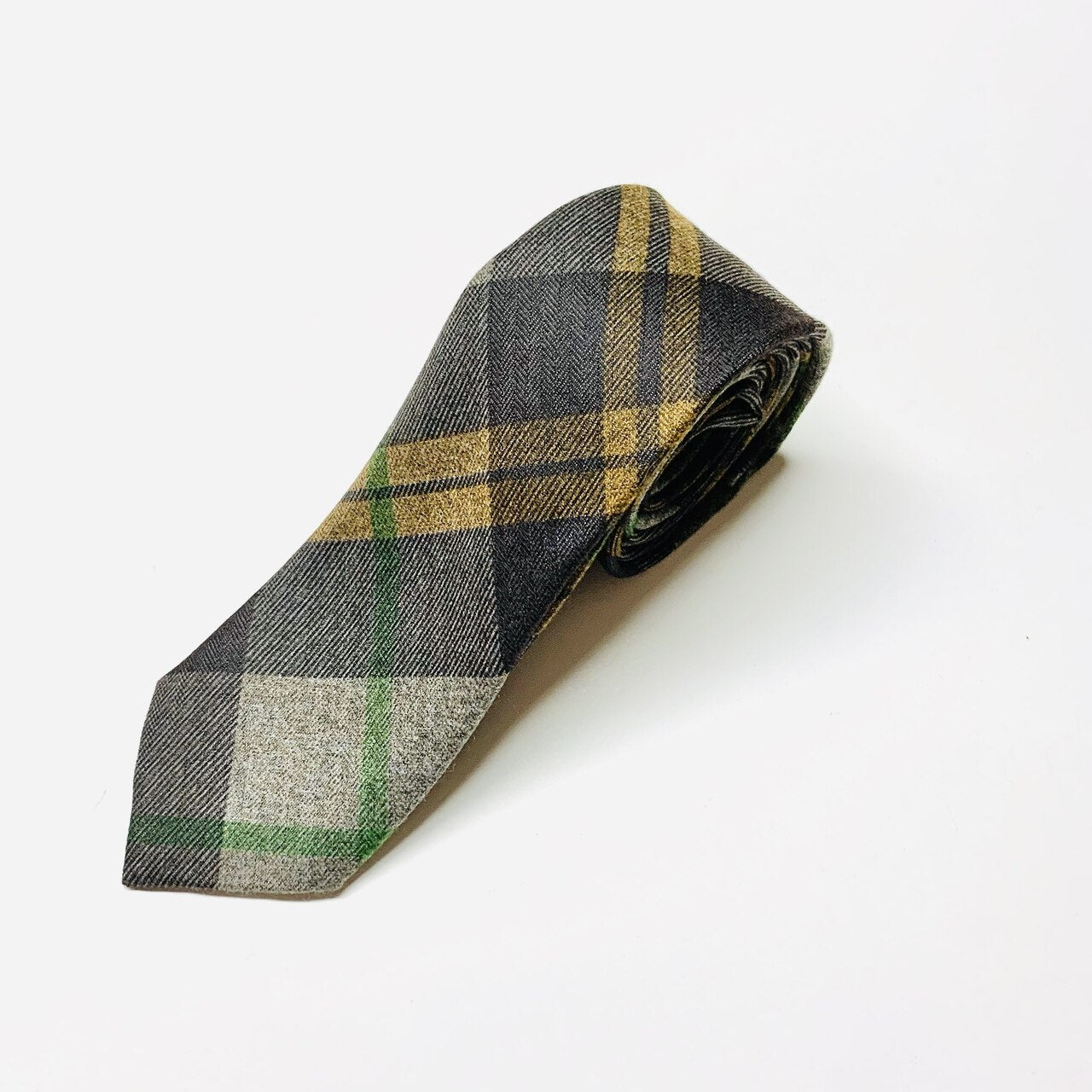 Fayette Plaid Slim Tie - Brown/Yellow