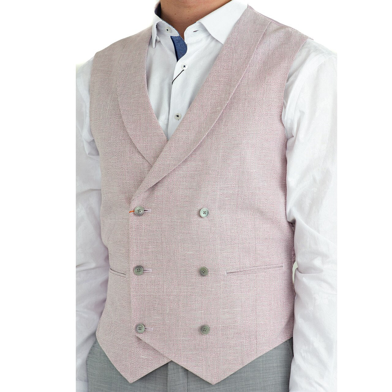 Votrin Double-Breasted Vest - Pink