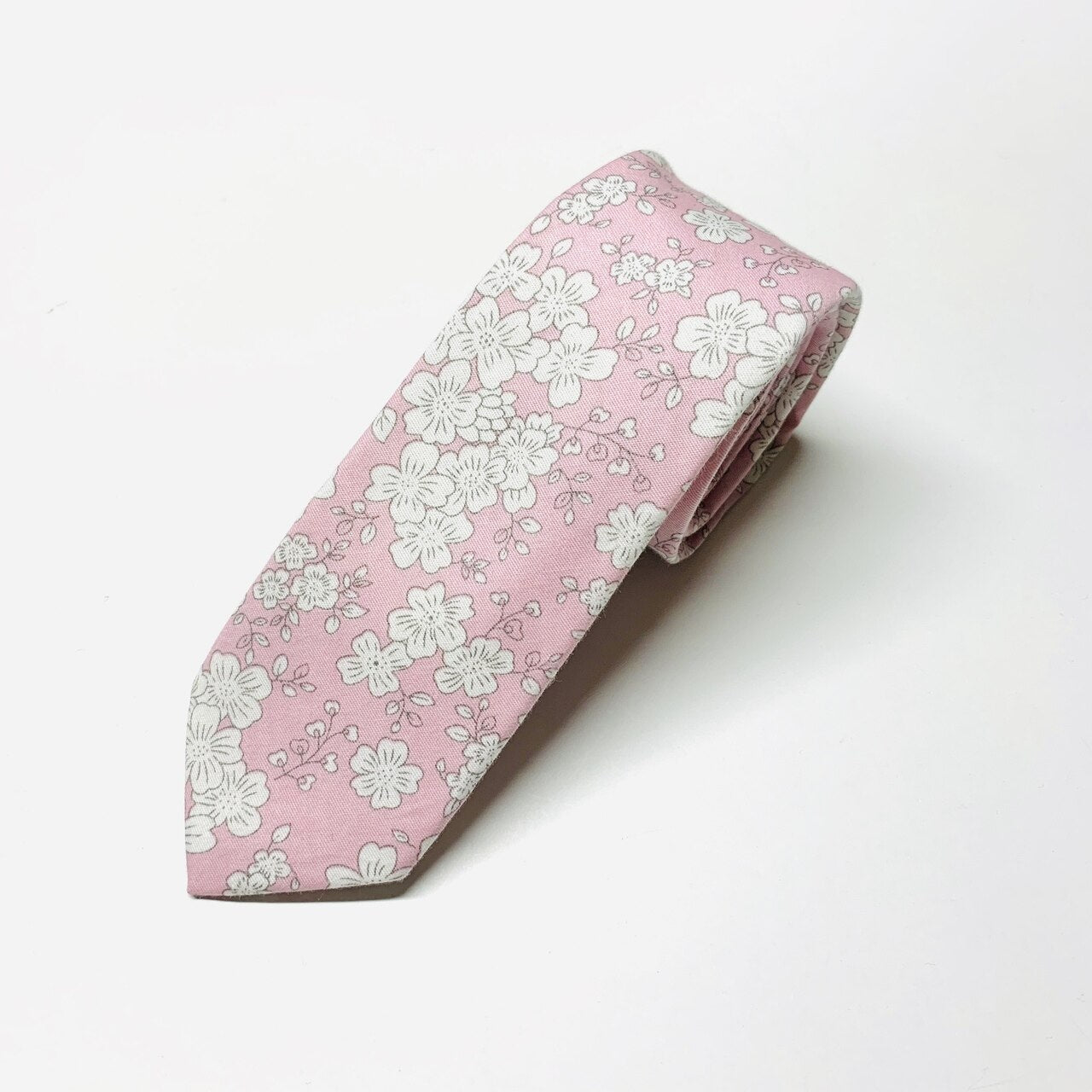 Manhattan Floral Slim Tie - Soft Pink & White