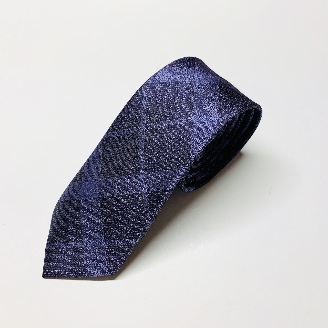 Danton Plaid Slim Tie - Purple