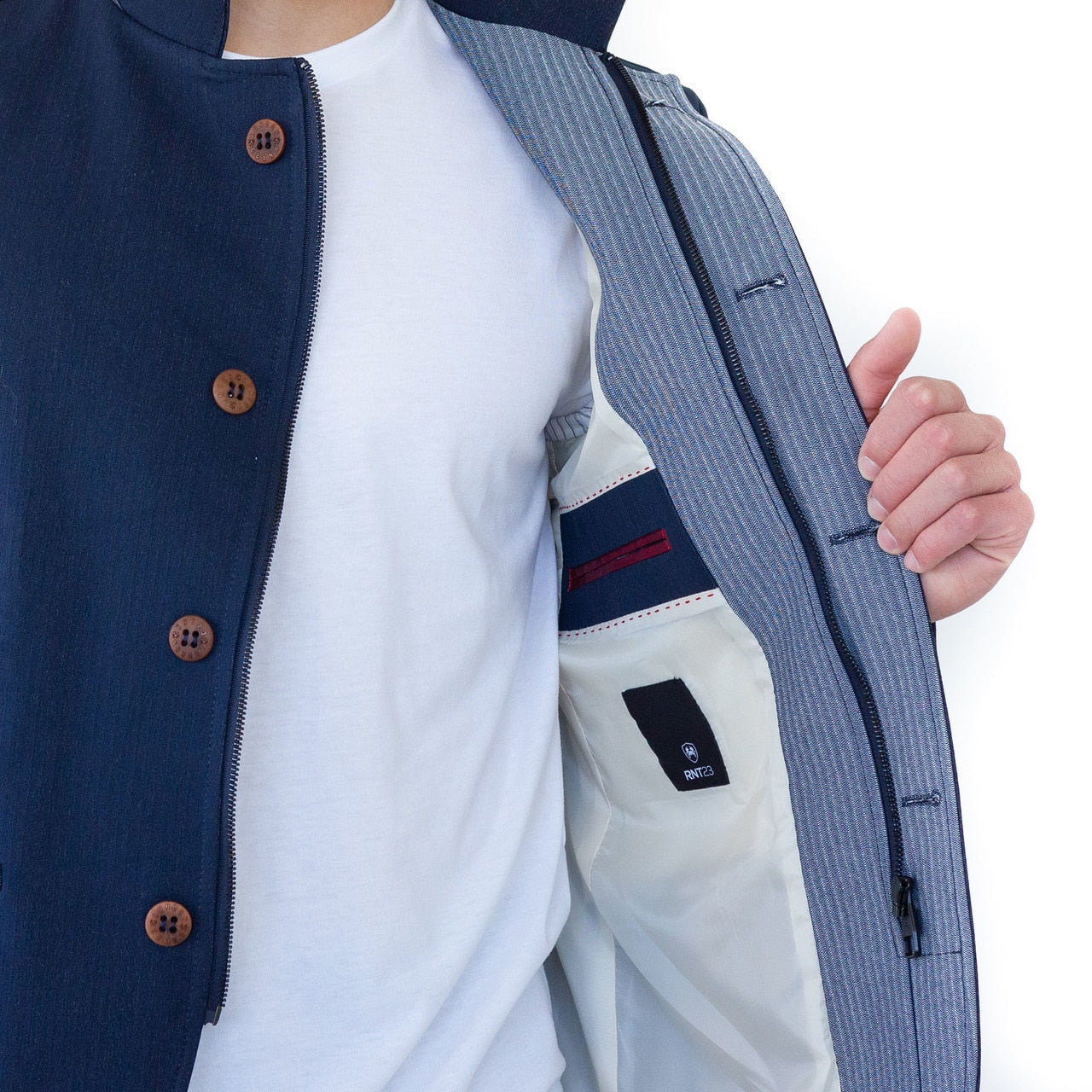 Bastien Stand Collar Jacket - Navy