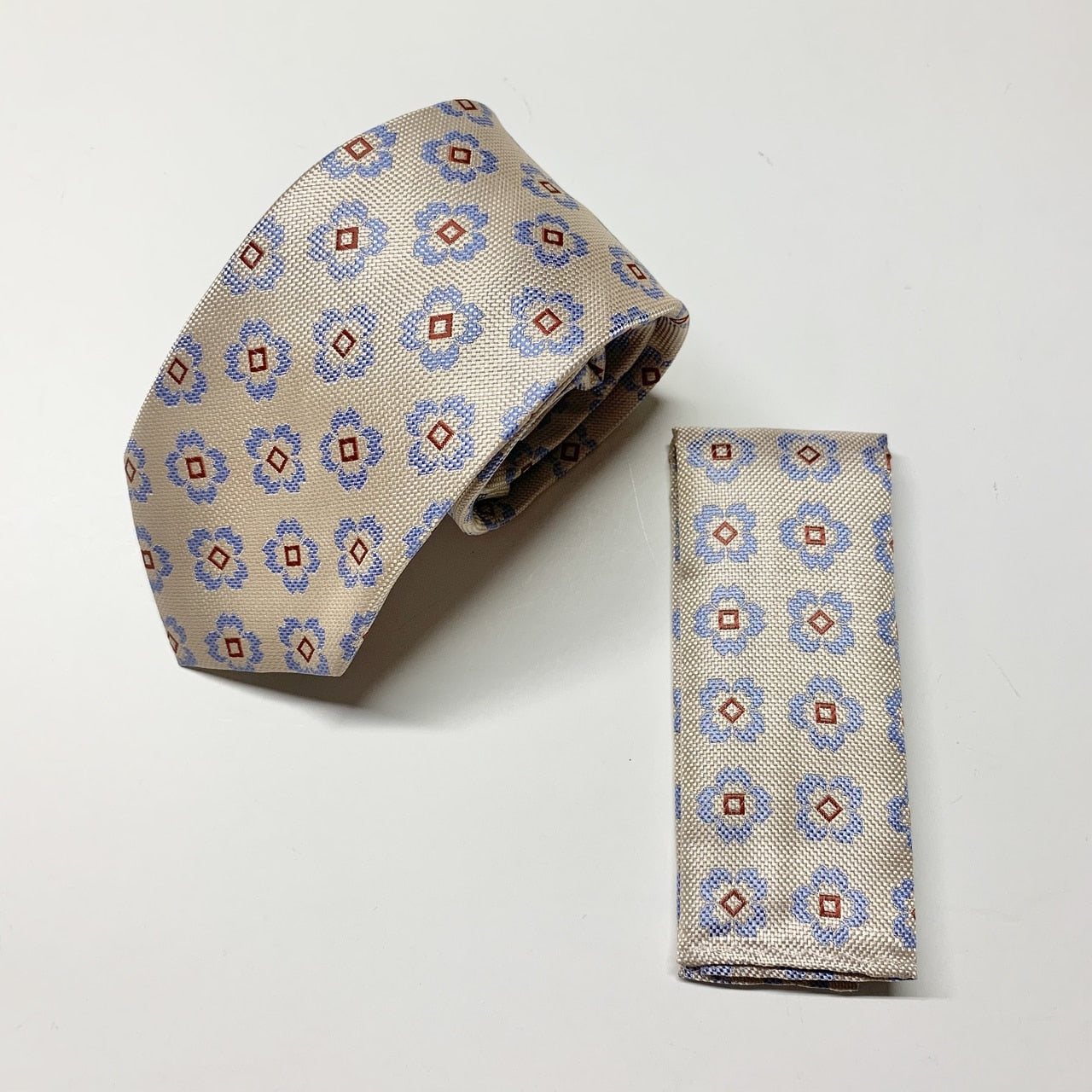 Fate Tie with Pocket Square - Cream