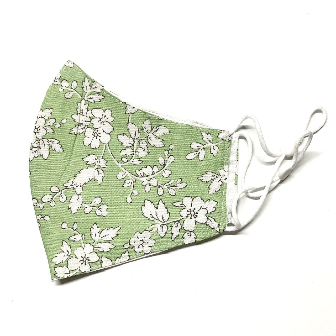 Green and White Floral Mask - 04