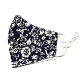 Navy and Cream Floral Mask - 22
