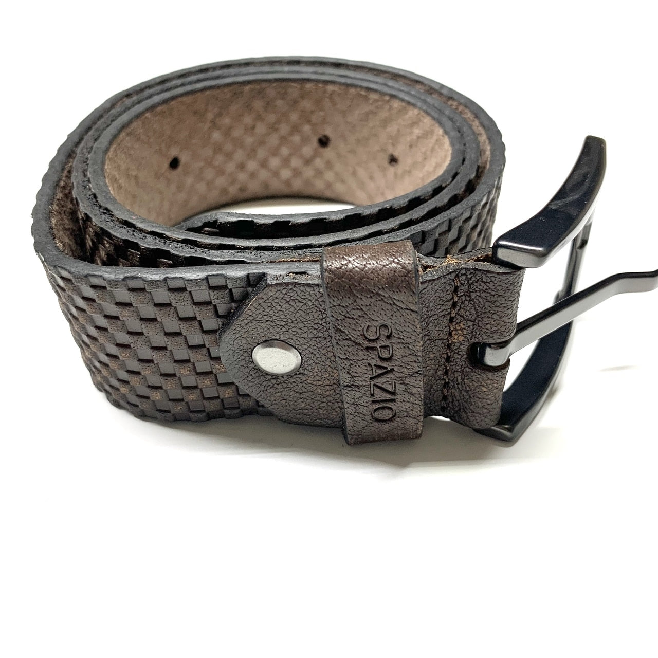 Checkered Stamped Belt -  Brown