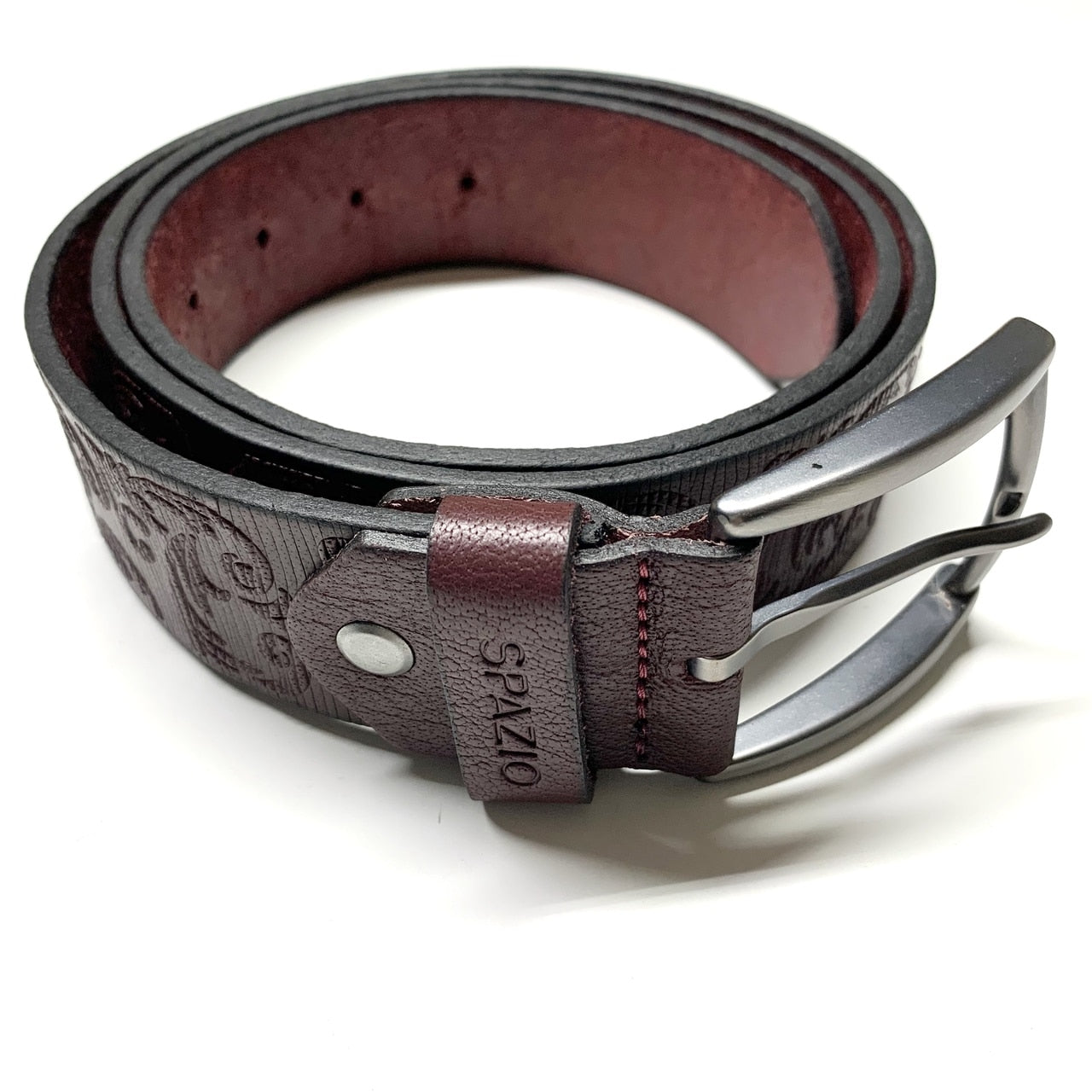 Paisley Stamped Belt - Burgundy