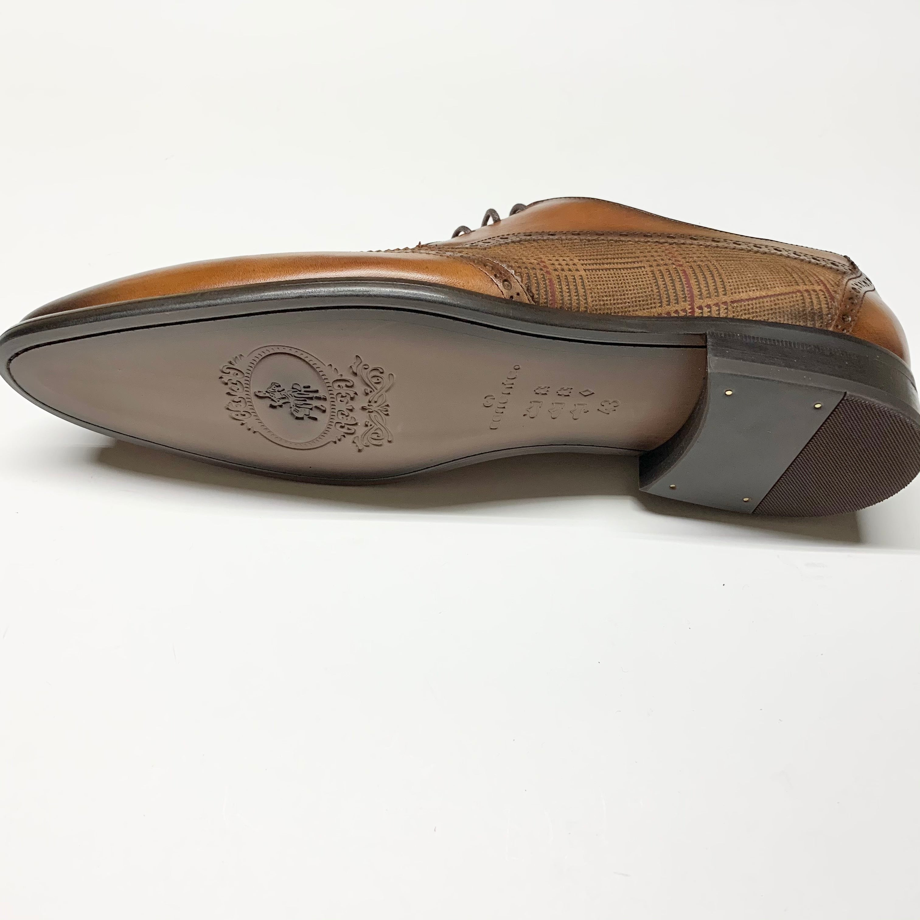 Corrente Leather and Suede Pattern Vamp Wing-Tip - Tabacco