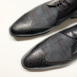 Corrente Leather and Suede Pattern Vamp Wing-Tip - Black