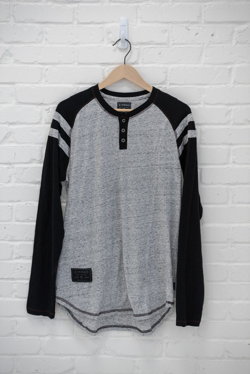 Edgar Baseball Henley - Grey/Black