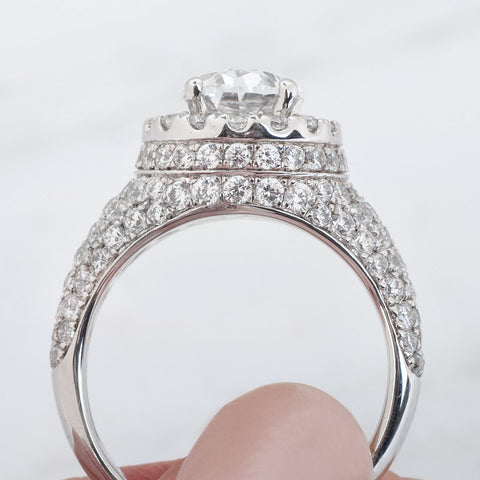double edge halo on a diamond engagement ring side view