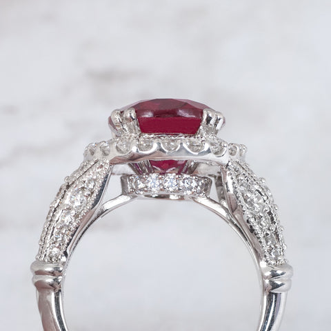 hidden diamond halo on engagement ring side view