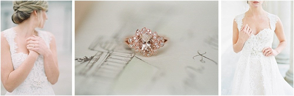 morganite engagement ring and blushing wedding photo shoot
