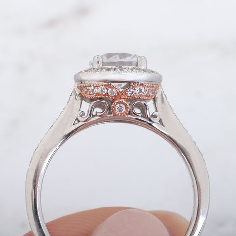peekaboo diamond details on underside gallery of engagement ring side view