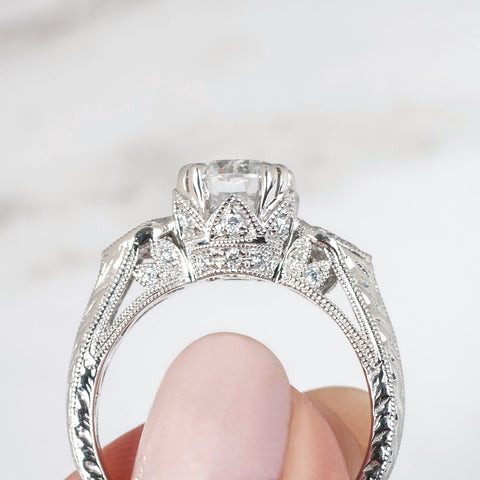 milgrain and engraved gold details on custom diamond engagement ring