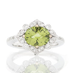 peridot ring with diamond leaf halo