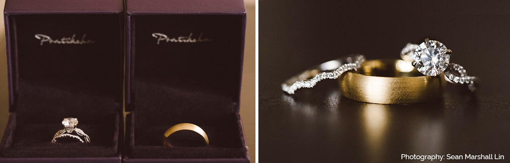 engagement ring and wedding band from pratiksha jewelry
