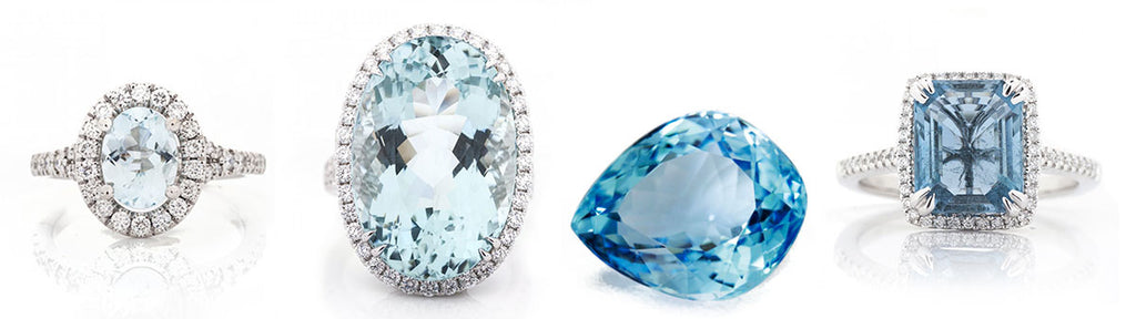 aquamarine rings with diamond