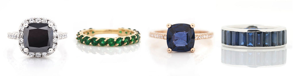 black diamond ring and emerald ring