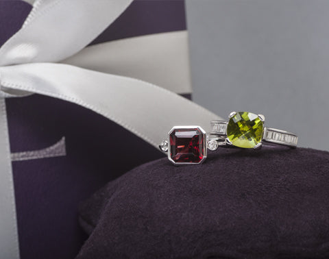 garnet and peridot modern rings