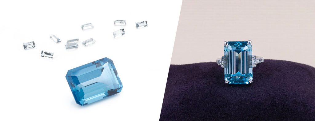 blue topaz baguette cocktail ring