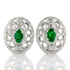 oval emerald and diamond filigree earrings