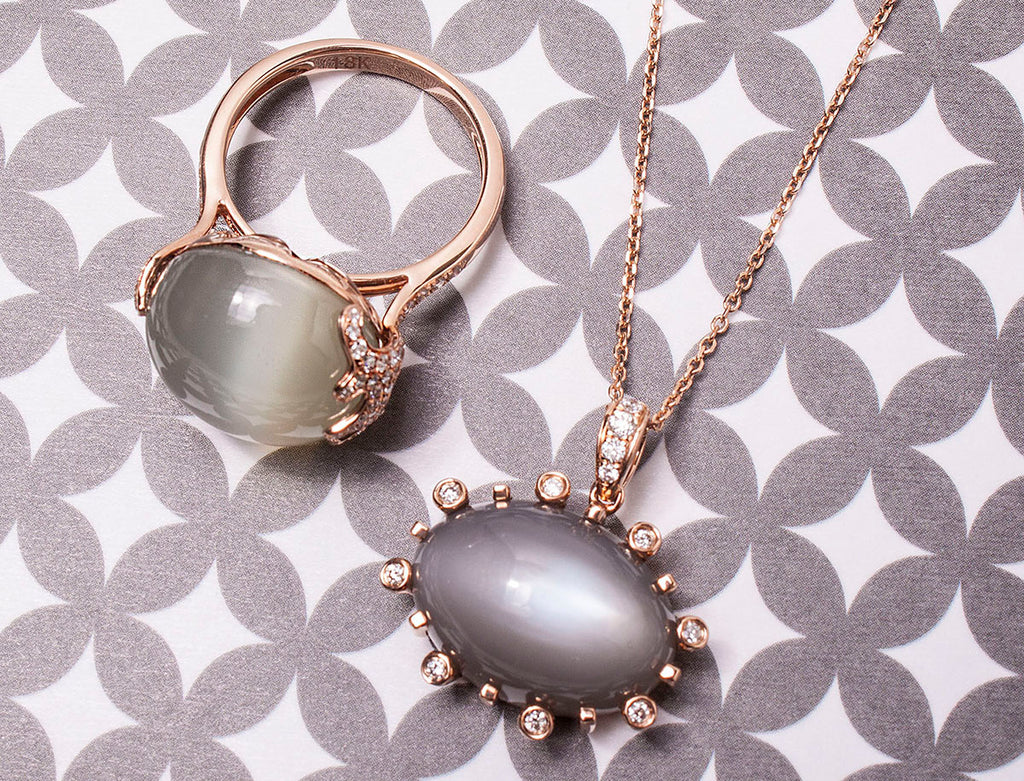 moonstone ring and moonstone pendant