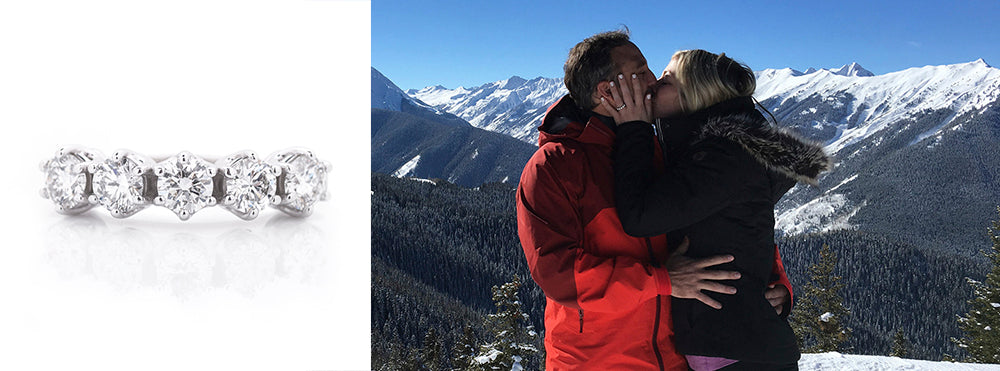 five stone engagement ring in aspen colorado proposal