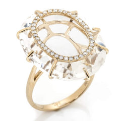 Quartz and Diamond Cage Cocktail Ring