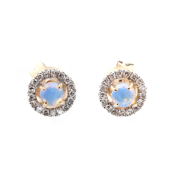 White Opal and Diamond Halo Earring Studs 14k Yellow Gold