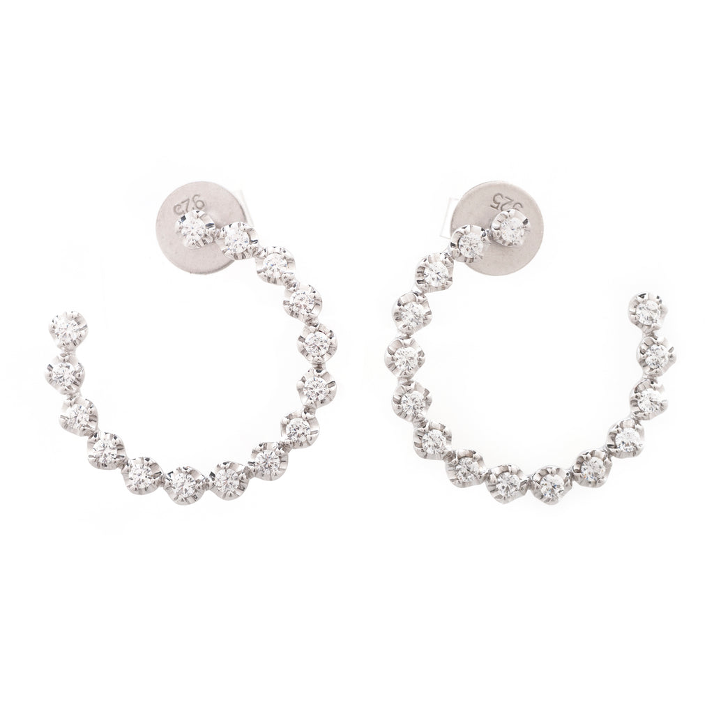 Face Front Open Diamond Hoop Earrings 14k White Gold