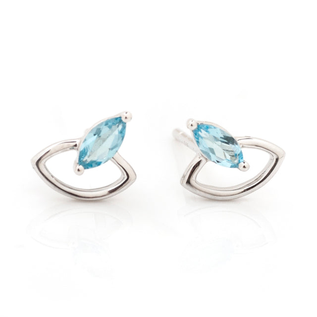 Blue Topaz Marquis and Open Space Earrings Studs 14k White Gold