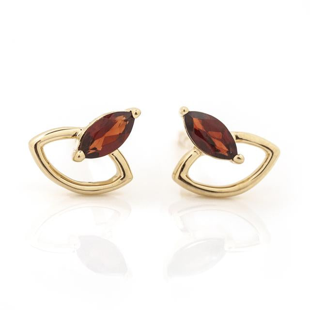 Garnet Marquis and Open Space Earrings Studs 14k Yellow Gold