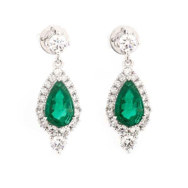 Pear Emerald and Diamond Drop Halo Earrings 18k White Gold