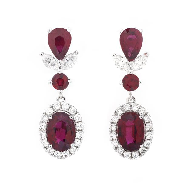 Ruby Drop Earrings with Diamond and Fancy Top 14k White Gold