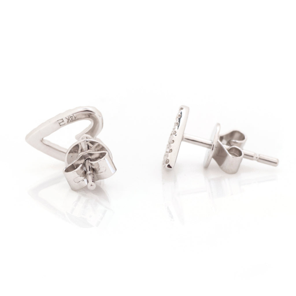 Aria Pave Diamond Open Space Heart Earrings