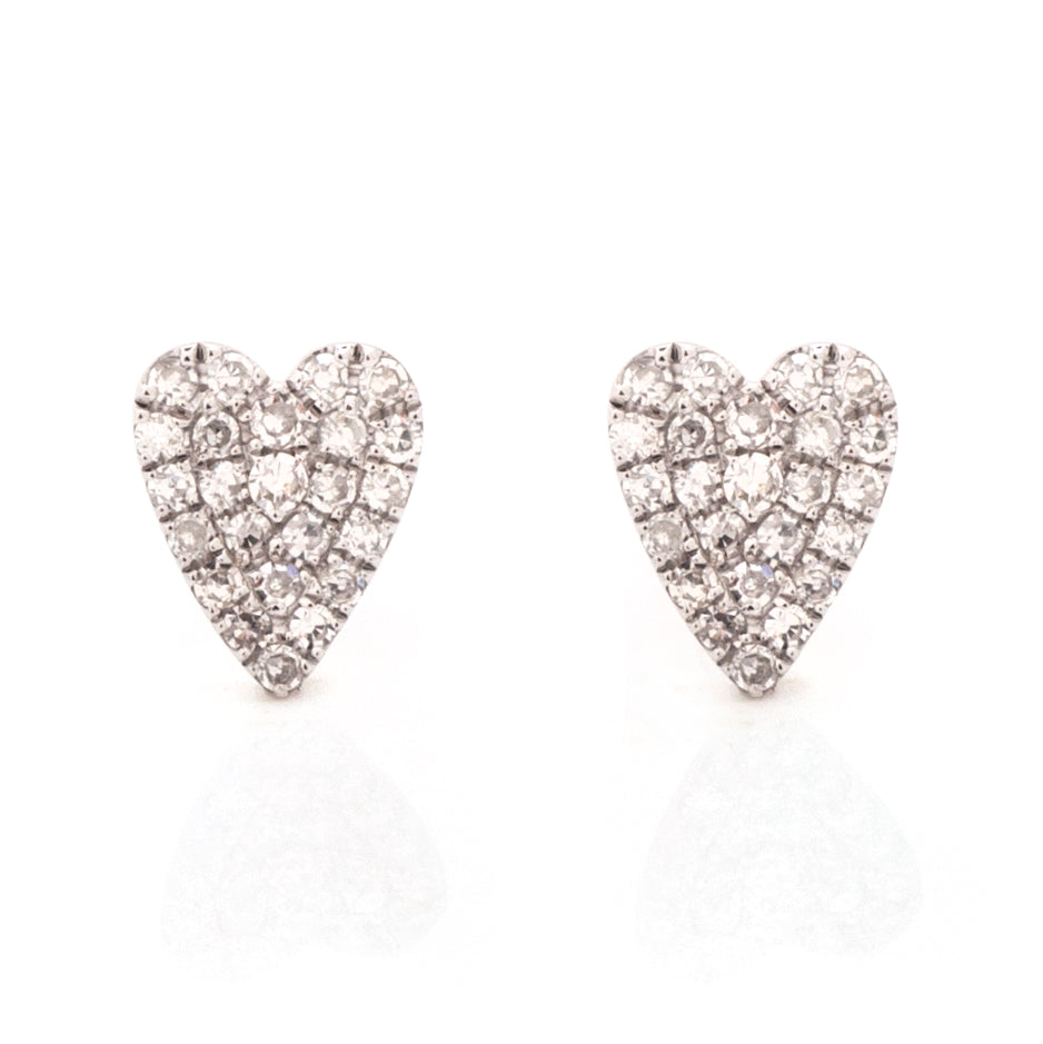 Annabeth Oblong Heart Pave Diamond Studs