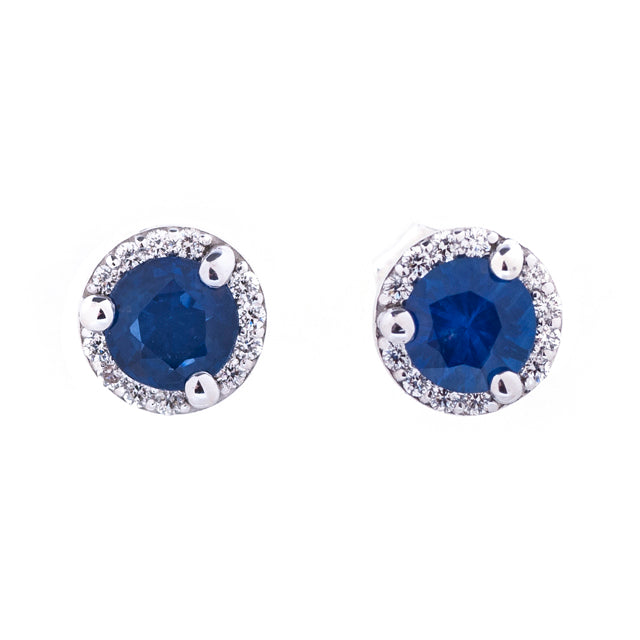 Blue Sapphire and Diamond Halo Stud Earrings 14k White Gold