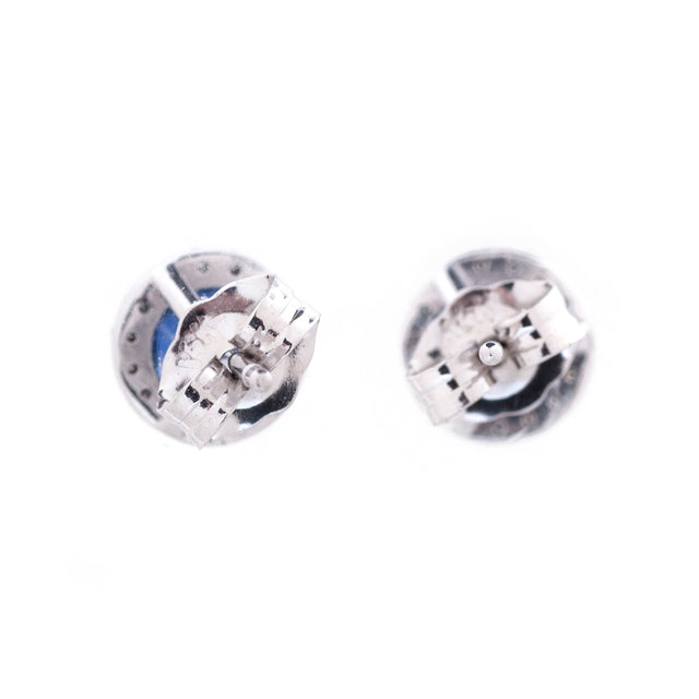 Blue Gemstone Diamond Halo Stud Earrings 2
