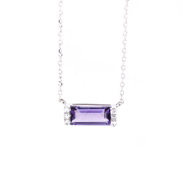 East West Amethyst Baguette and Diamond Necklace 14k White Gold