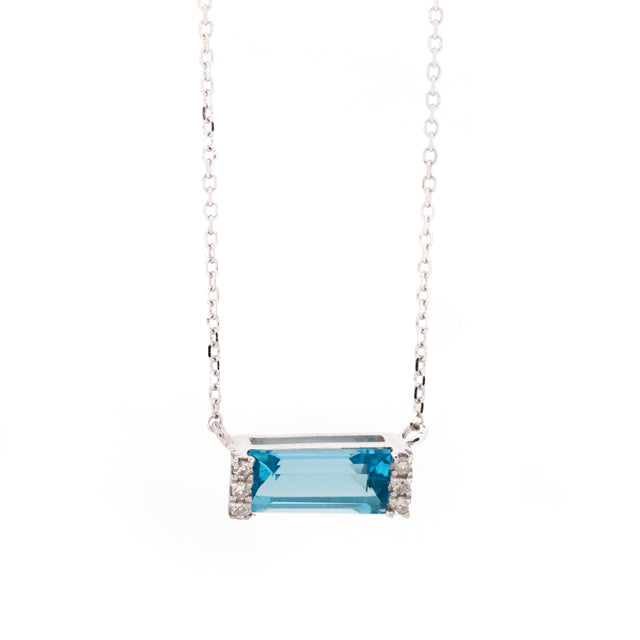 East West Blue Topaz and Baguette Diamond Necklace 14k White Gold